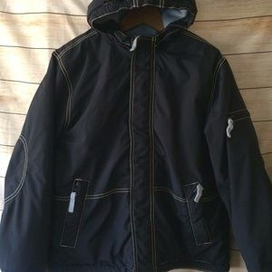 Blue Navy Anorak Hooded Winter Coat Jacket